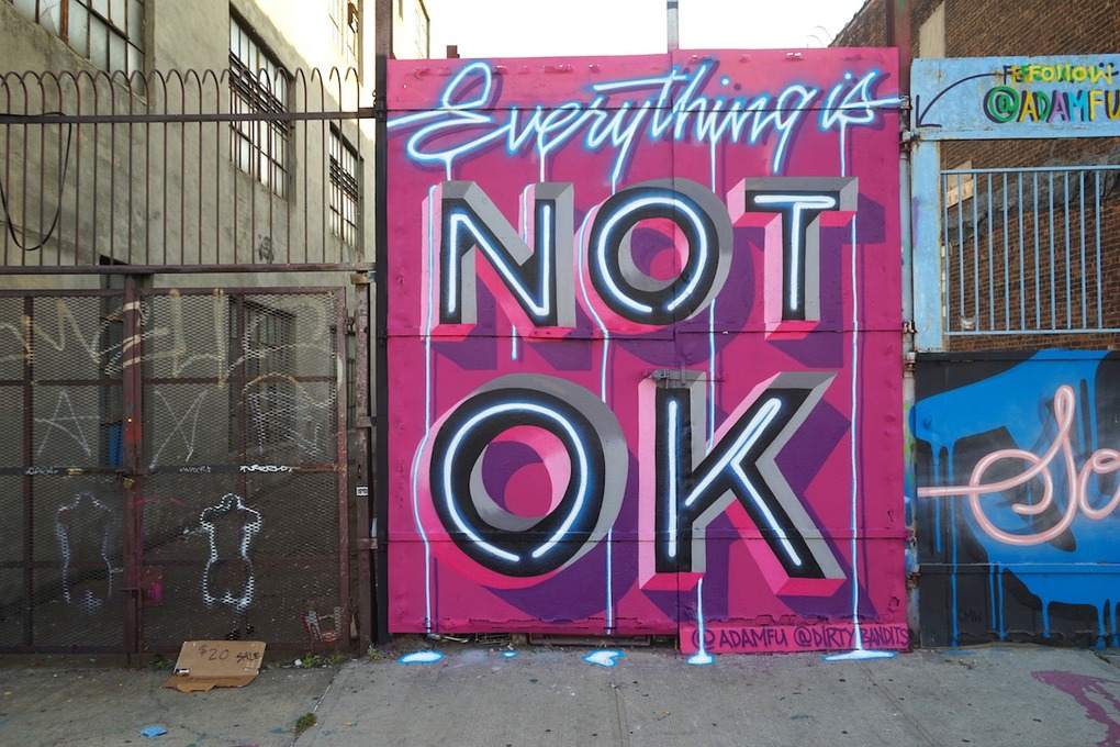 Everything is Not OK: Bushwick Graffiti Artist's Mural on Wyckoff Decries Trump Administration — Arts & Culture on Bushwick Daily