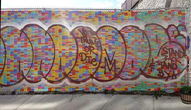 'Wall of Lies' Mural Vandalized in Bushwick with 'Vote Trump or Die' and Proud Boys Slogan — News on Bushwick Daily
