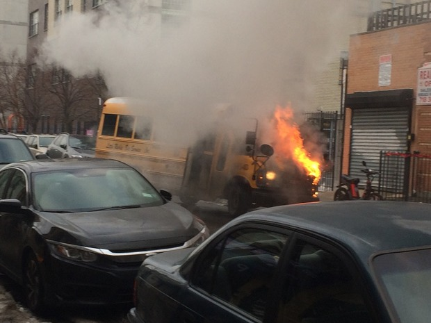 A Ridgewood School Bus Burst Into Flames Just After Dropping off Special Needs Students at School — News on Bushwick Daily