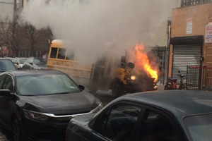A Ridgewood School Bus Burst Into Flames Just After Dropping off Special Needs Students at School