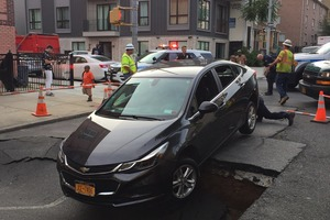 Massive Sinkhole In Bushwick Almost Swallows Car