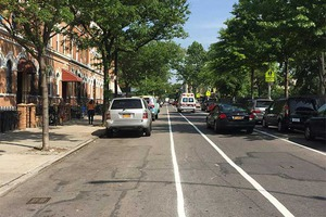 Check Out the Freshly Painted Bike Lane on Bushwick's Irving Ave!