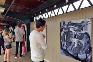 Apostrophe's Tame Showing of Guerilla Art on Kosciuszko J Platform