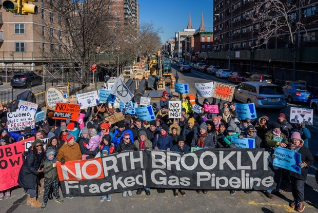 """No Pipes in Brooklyn!"" Protesters Shut Down Construction On a Fracked-Gas Pipeline This Weekend"