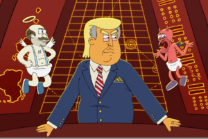 Watch: Bushwick's Bar Caricaturist Napkin Killa Debuts a Goofy Pre-Election Political Cartoon