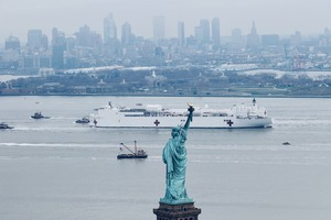Hospital Ship USNS Comfort Arrives in NYC Harbor