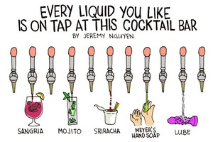 Cocktail Bar in Bushwick Serves Every Liquid You Enjoy on Tap [COMIC]