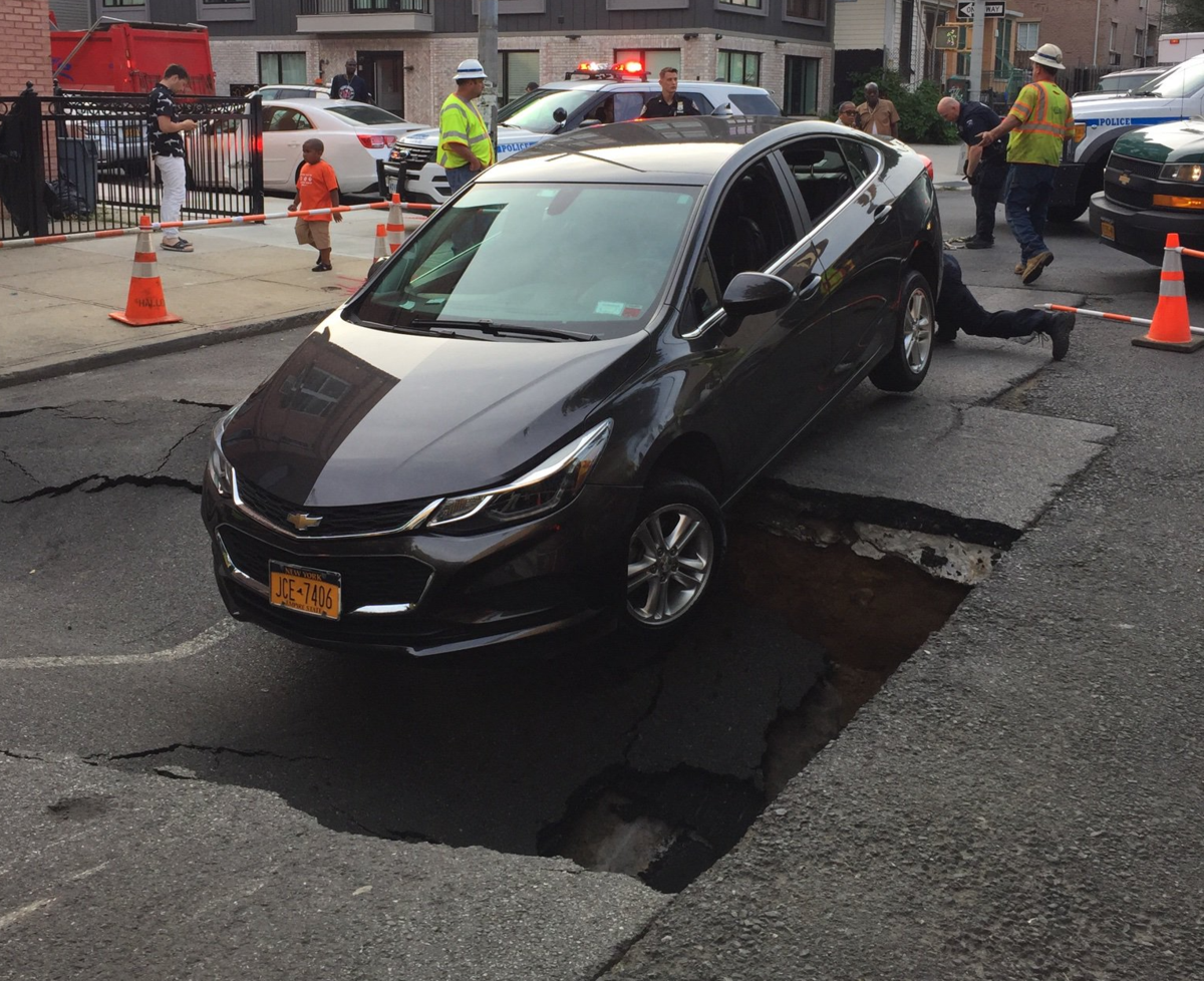 Bushwick Car Service >> Massive Sinkhole In Bushwick Almost Swallows Car ...
